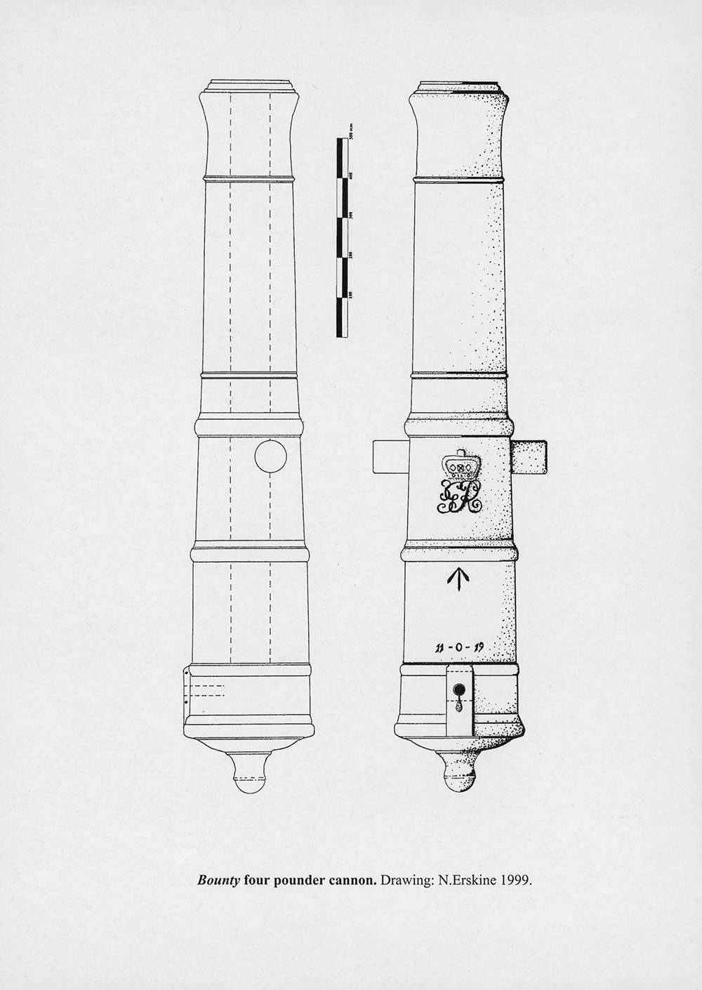 Diagram of the raised and de-concreted <em>Bounty</em> cannon from Pitcairn Island. Image: Nigel Erskine.