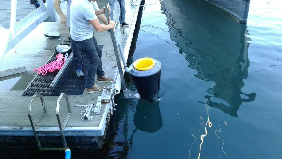 The Seabin is being trialled on our wharves, thanks to our Fleet staff members Lee Graham and Jeff Hodgson, who kick-started the collaboration between the museum and the Seabin Project. Image: Emily Jateff/ANMM.