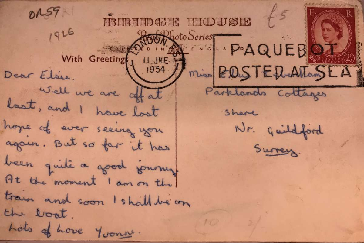Message on a postcard of the Orient Line RMS <em>Otranto</em>. Roy Fernandez Maritime Collection at the Vaughan Evans Library.