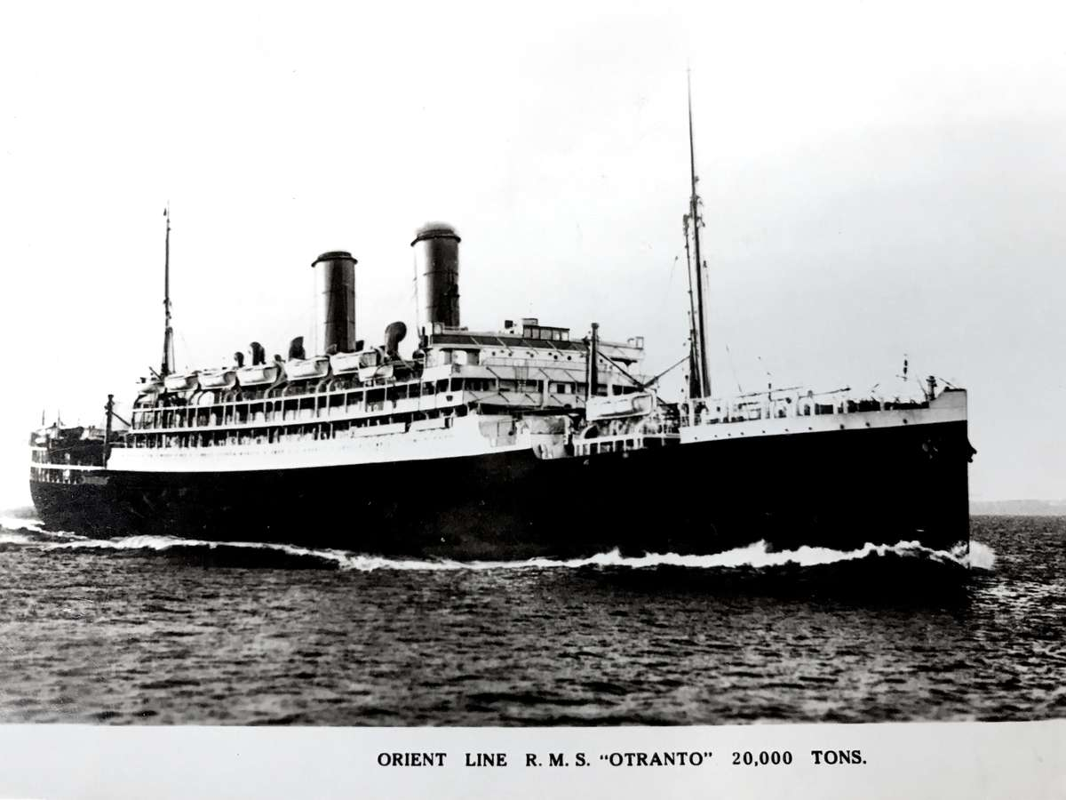 Front of the postcard, Orient Line RMS Otranto. Roy Fernandez Maritime Collection at the Vaughan Evans Library