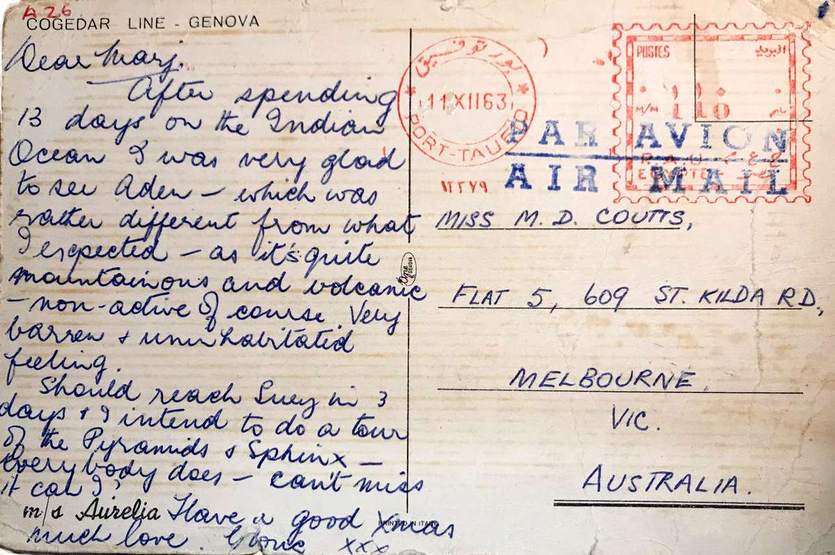 Message on postcard of Aurelia. Roy Fernandez Maritime Collection at the Vaughan Evans Library.
