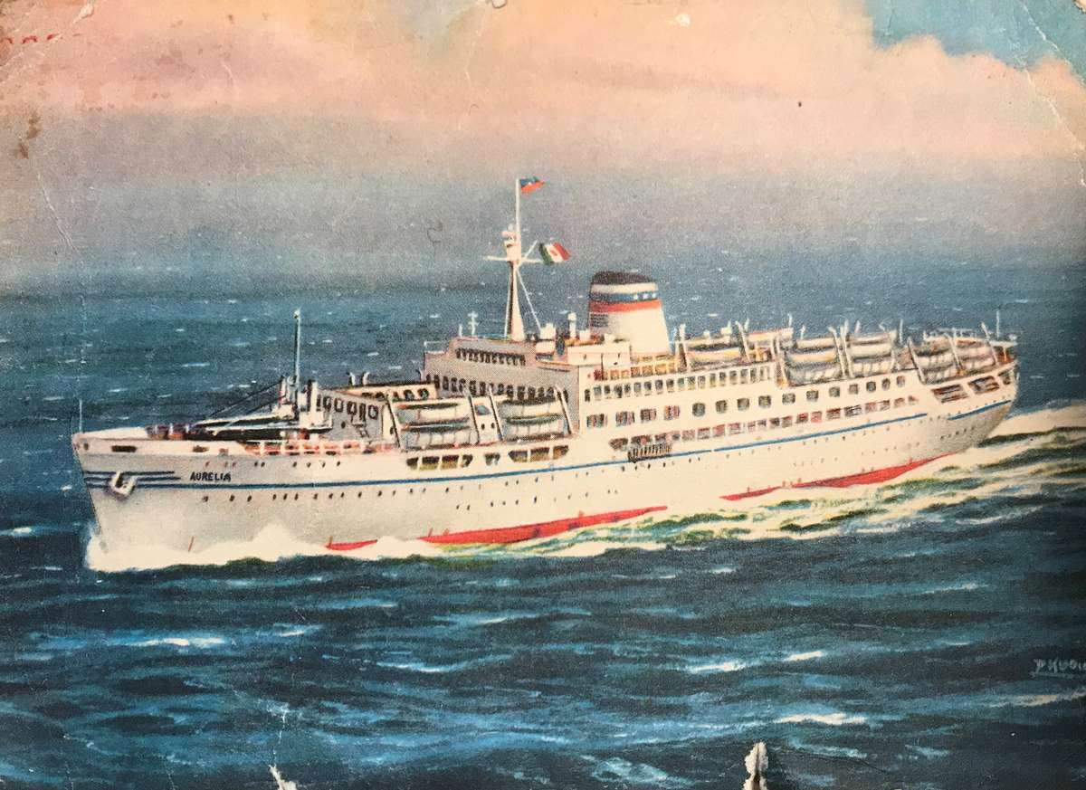 Postcard of Aurelia from the Roy Fernandez Maritime collection at the Vaughan Evans Library.