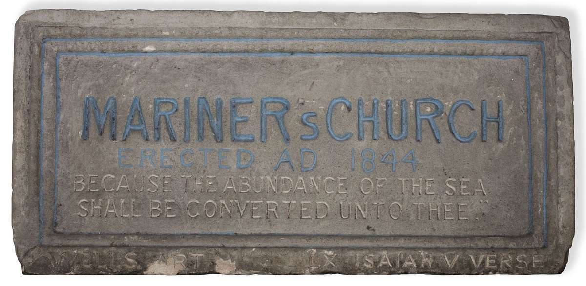 Foundation stone of the Sydney Bethel Union's Mariners' Church. It was removed from the original Mariners' Church in Erskine Street, East Darling Harbour, in 1844. The Sydney Bethel Union later merged with the Missions to Seamen. ANMM Collection 00054930 Gift from Mission to Seafarers. Image: Emma Bjorndahl/ANMM.