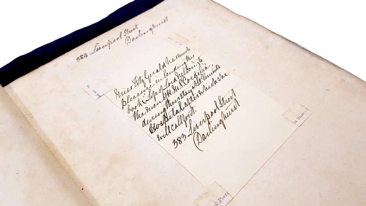 The handwritten note inside <em>Life of Lord Viscount Nelson</em> by T.O. Churchill (1810), from Miss Fitzgerald, lending the tome to injured sailors recovering at St Vincent