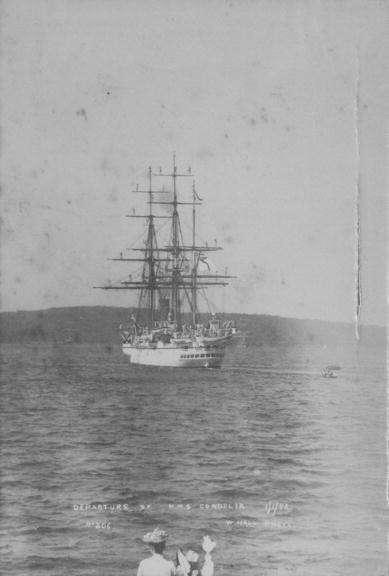 """Departure of HMS <em>Cordelia</em>, 1892. Image: <a href=""""http://photosau.com.au/cos/scripts/home.asp"""">City of Sydney Archives</a>."""