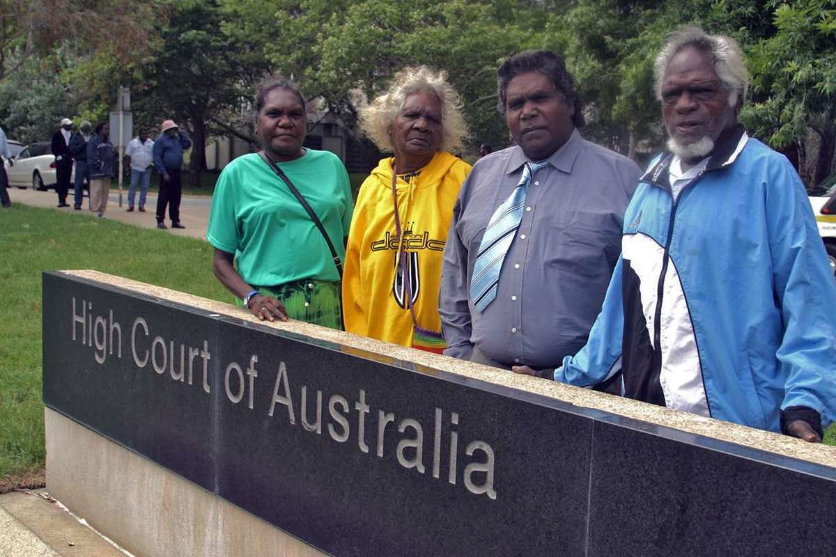 Claimants in the Blue Mud Bay case, from left: Dayŋawa (2) Ŋurruwut'thun (since deceased), Mulkun Wirrpanda, Djambawa Marawili am, Marrirra Marawili. Image courtesy Northern Land Council.