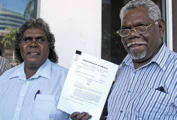 Blue Mud Bay case plaintiffs Djambawa Marawili AM (left) and former Northern Land Council Chair and Land Rights campaigner Mr Wunuŋmurra (since deceased).Image courtesy Northern Land Council.