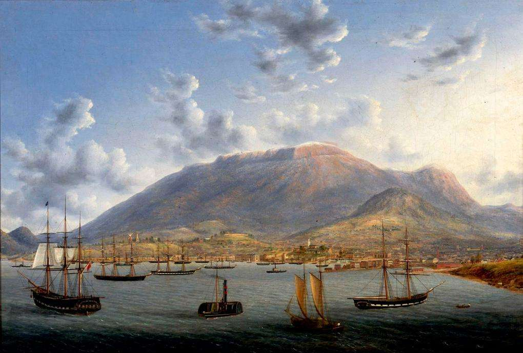 "This oil painting by Henry Gritten depicts the settlement of Hobart on the Derwent River in Tasmania, below the impressive shape of Mount Wellington, circa 1856. A number of Hobart landmarks are also recognisable, including Constitution Dock, Victoria Dock, Cowgills windmill and St. Georges church. Convict Ann Norman would have faced a smaller settlement during her years as a convict during the 1830s and 1840s. ANMM Collection <a href=""http://collections.anmm.gov.au/objects/30918/hobart-town-1856?ctx=65e09399-6d09-4f8d-944b-c067c7099216&idx=3"">00018553</a>."