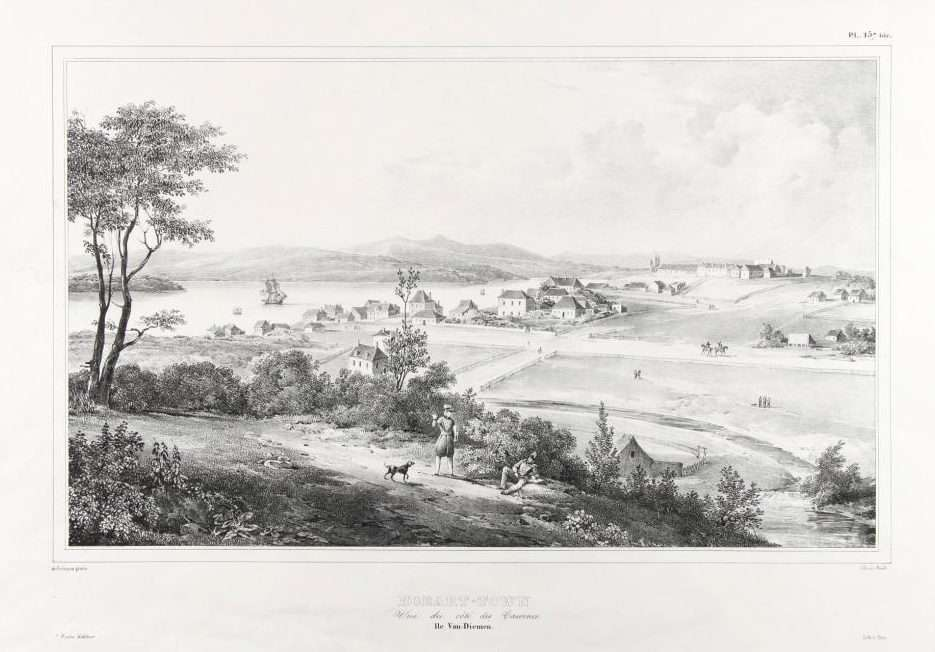 "Hobart Town, circa 1827. View of Hobart towards Anglesea Barracks; a lithograph by A. Bes based on original artwork by Louis de Sainson. ANMM Collection <a href=""http://collections.anmm.gov.au/objects/16980/hobart-town-vue-du-cote-des-casernes-ile-van-diemen?ctx=65e09399-6d09-4f8d-944b-c067c7099216&idx=9"">00031288</a>."