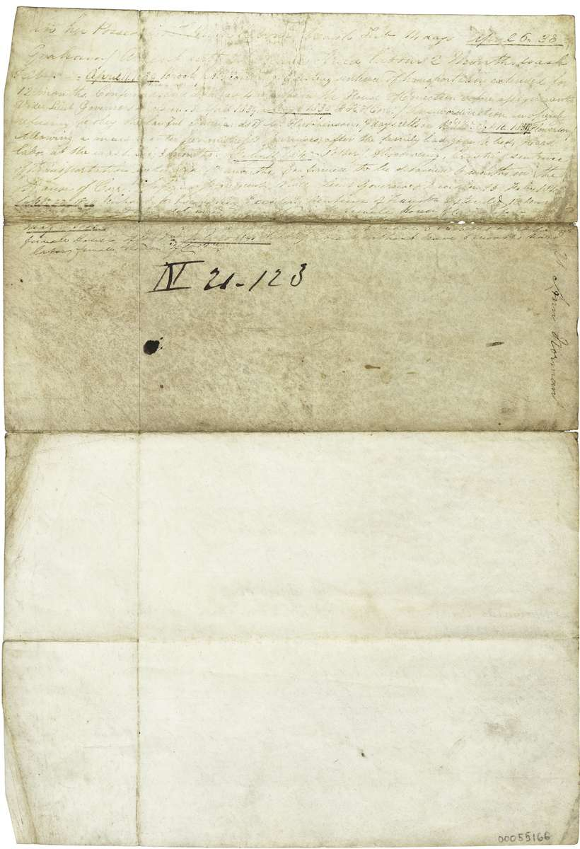 A Convict Record for Ann Norman. This object comprises of convict incident form written on Vellum that details the record of female convict Ann Norman who was transported to Van Diemen