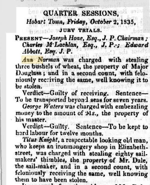 "This editorial from the Colonial Times features the jury trials from the previous Friday – with Ann's at the top! Via <a href=""https://trove.nla.gov.au/newspaper/article/8648619?searchTerm=ann%20norman%C2%A0%C2%A0%C2%A0%C2%A0%C2%A0%C2%A0%C2%A0%C2%A0%C2%A0%C2%A0%C2%A0%20&searchLimits=l-state=Tasmania