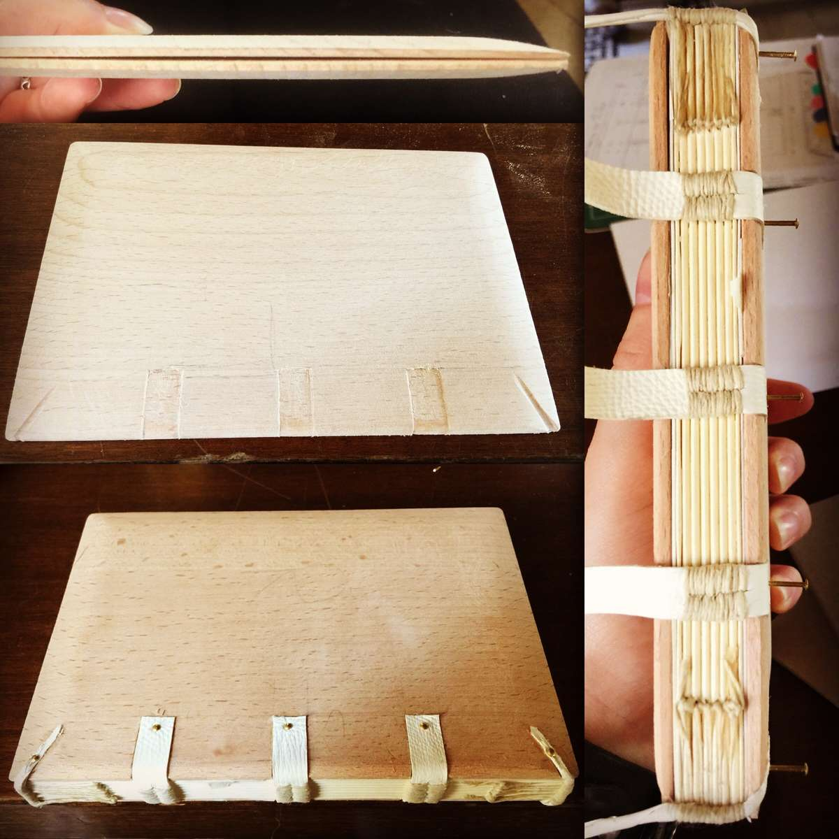 Attaching 15th Century Italian binding textblock to shaped wooden covers. Image: Lucilla Ronai.