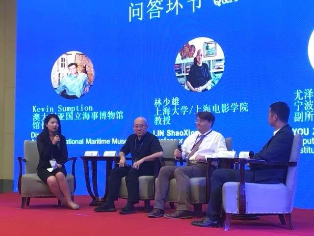 From right: Zefeng You (Institute of Ancient Chinese Ships), Kevin Sumption (Director and CEO of the Australian National Maritime Museum) and Shaoxiong Lin (Shanghai University) taking audience questions after their keynote talks opening the 10th