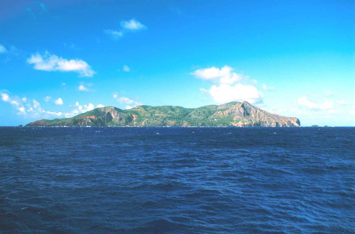 Pitcairn Island from the sea. Image: Nigel Erskine/ANMM.