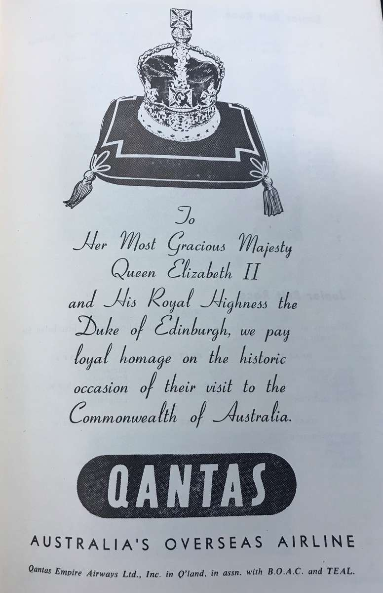 A welcome to Queen Elizabeth II in the Surf Life Saving Association of Australia, Royal Visit 1954, souvenir programme on behalf of event sponsor QANTAS. Vaughn Evans Library Collection.