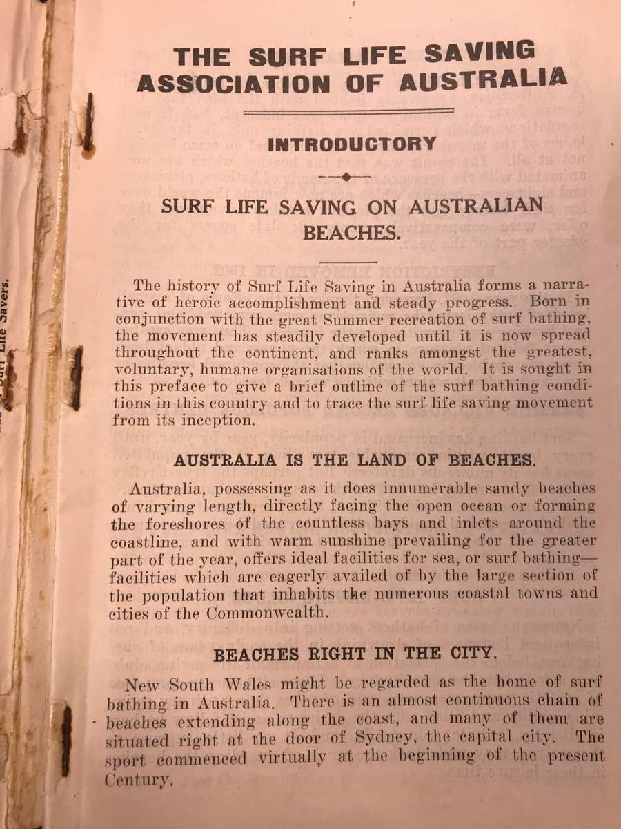 """""""Australia is the land of beaches."""" – The introduction of the Surf Life Saving Handbook, circa 1926. Vaughn Evans Library Collection."""