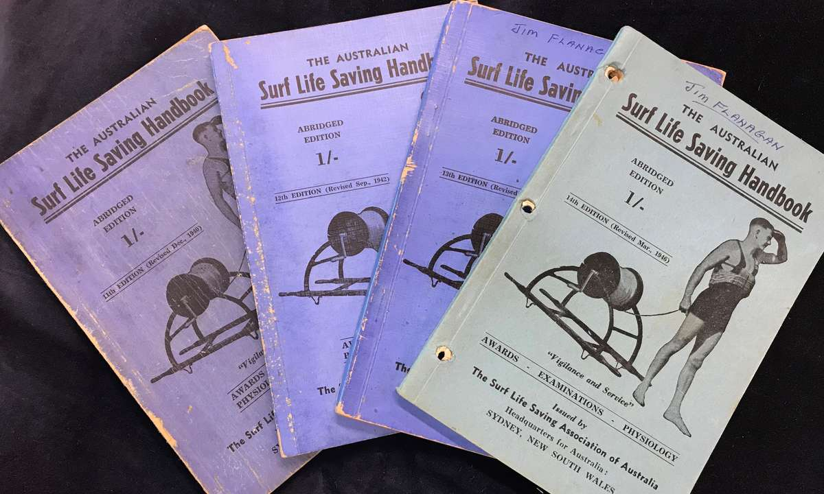 Surf Life Saving Handbooks from 1940 to 1946 at the Vaughan Evans Library. Vaughn Evans Library Collection.