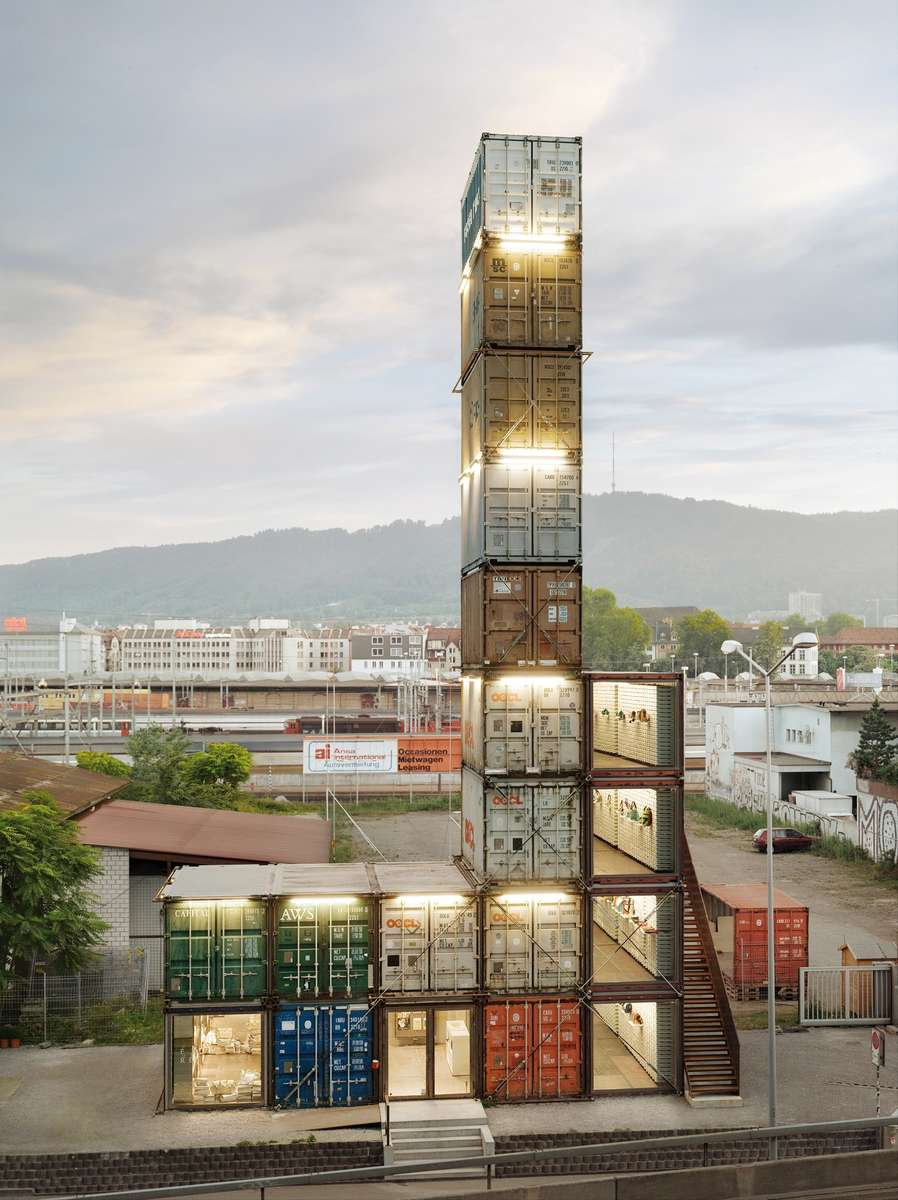 The Freitag Flagship Store, Zürich, architects spillmann echsle architekten, photo Roland Tännler, 2012. Reproduced courtesy spillmann echsle architekten ag.