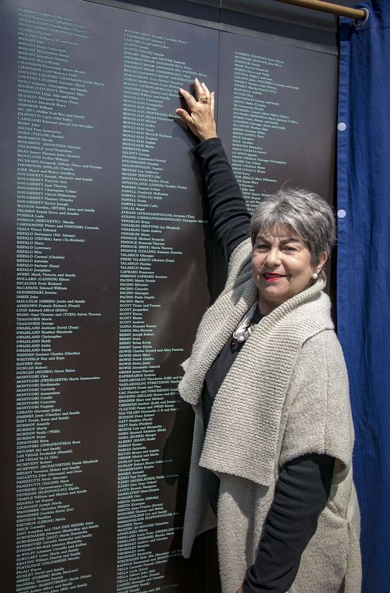 Eva Rossen (Szwarcberg) at the Welcome Wall. Her parents