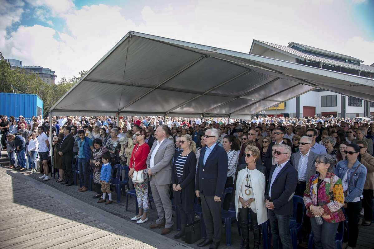 Over 250 names were added to the Welcome Wall during a ceremony on Sunday 23 September 2018. It is the 80th bronze panel added to the Wall and there are now almost 30,000 names on the Wall, which celebrates Australia's waves of migration. Image: Andrew Frolows/ANMM.
