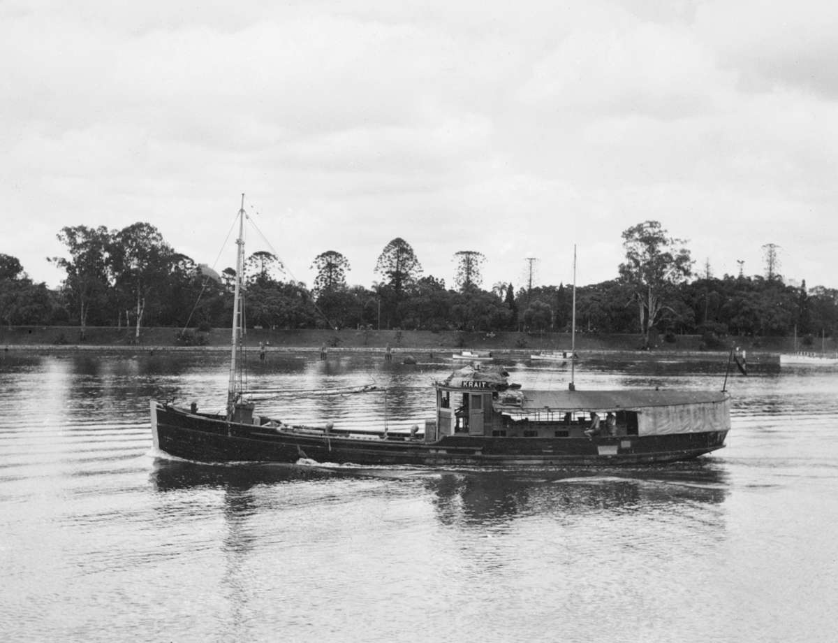 <em>Krait</em> on the Brisbane River 1943, Reproduced courtesy Australian War Memorial. AWM Collection 300915.