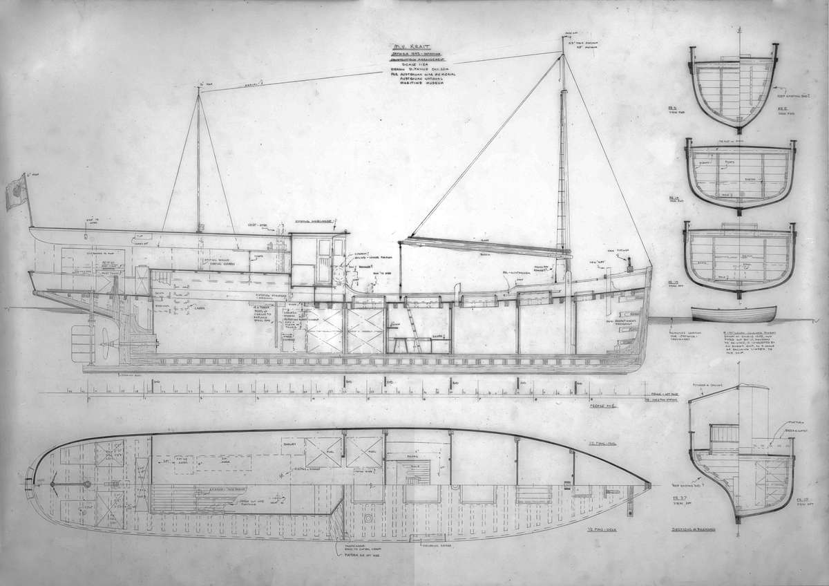 1: 24 scale plan of <em>Krait</em>, as drawn by David Payne in 2014, for the reconstruction project. Image: David Payne/ANMM.