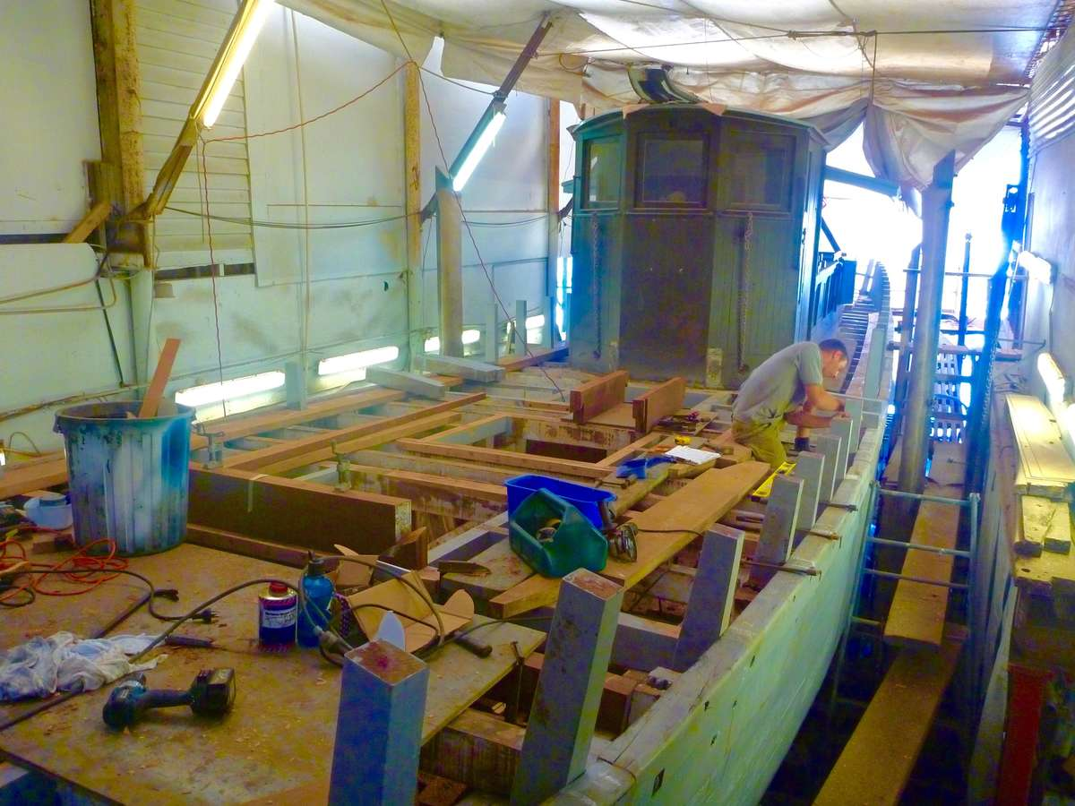 Work on restoring and replacing the planking and frames was largely carried out by Michael Bartley Shipwrights. Image: David Payne/ANMM.