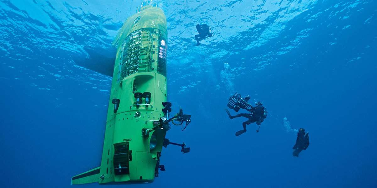 in 2012, Cameron would piloted his own single person submersible, <em>DEEPSEA CHALLENGER</em>, to the deepest point of the ocean, the Challenger Deep of the Mariana Trench. Image: Mark Thiessen, National Geographic Creative.