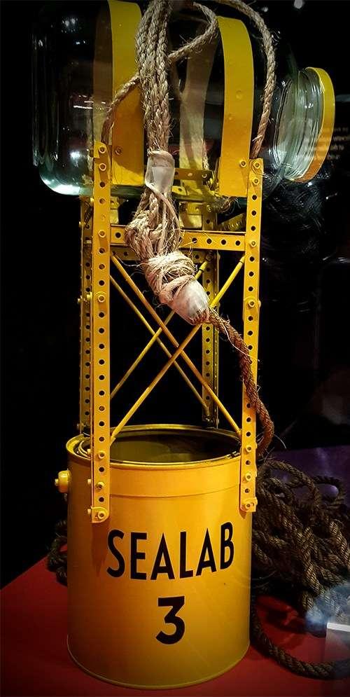Cameron built a bathysphere (he called it <em>Sealab 3</em>) using an Erector Set, a jar and a tin can. <em>Sealab 3 </em>reconstruction,on display as part of the <em>James Cameron – Challenging the Deep exhibition</em>. Image: Kate Pentecost/ANMM.