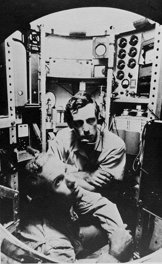 Lieutenant Don Walsh and Jacques Piccard in the bathyscaphe Trieste. Image: Courtesy Don Walsh.