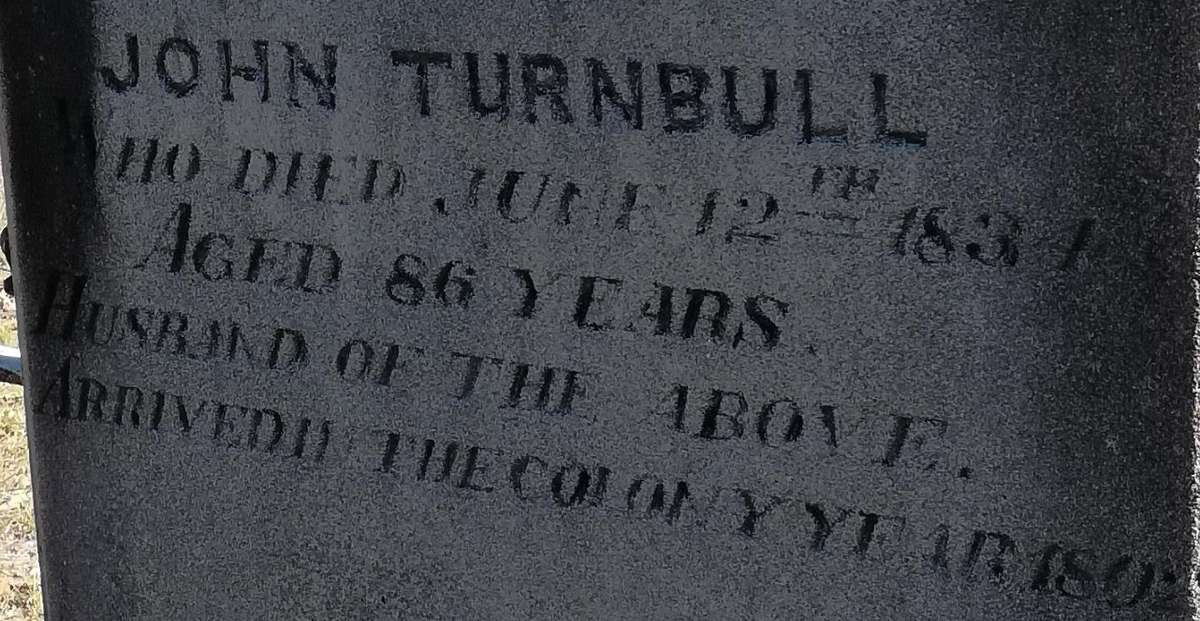The Turnbull headstone at Ebenezer church on the Hawkesbury River. Image: Dr Nigel Erskine/ANMM.