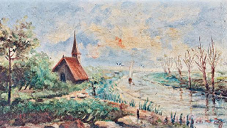 Chapel in a River Landscape with Sailing Boat by Ida Camilleri Schranz (Credit: timesofmalta.com)