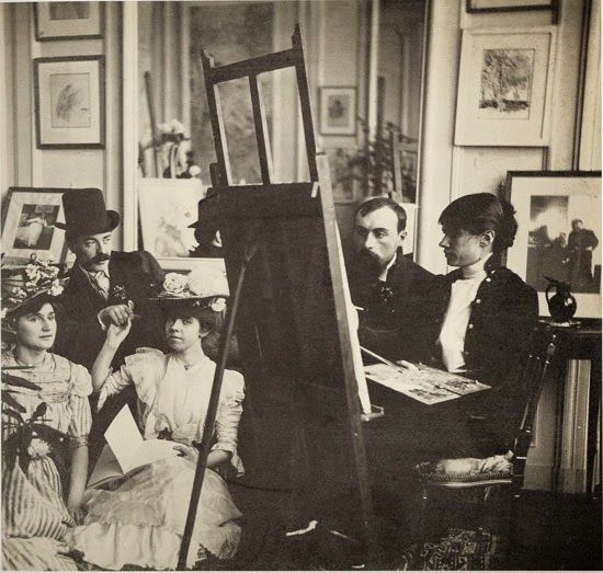 Group with easel