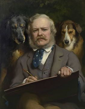 Landseer with two dogs