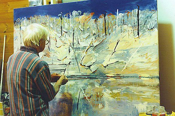 Arthur Boyd painting in his studio at Bundanon 1995
