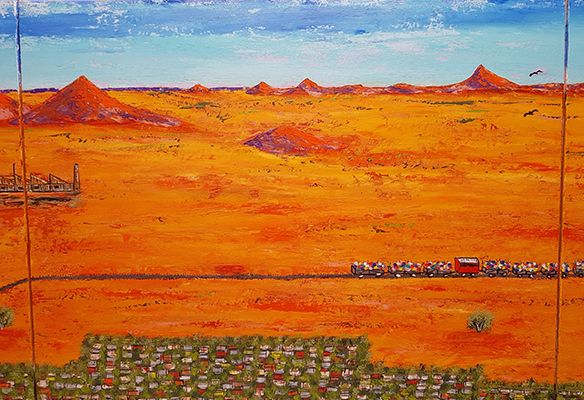 Picnic Train in the Desert Panel 2 by John Wylie