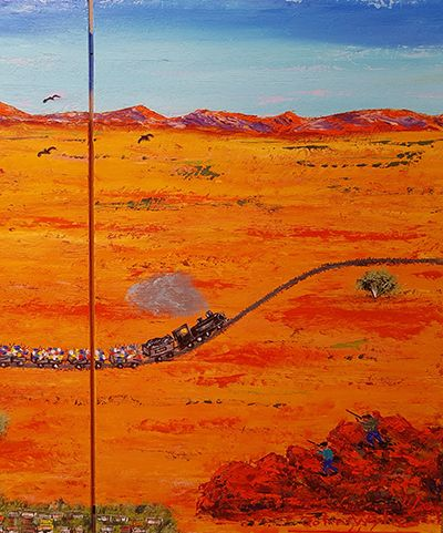 Picnic Train in the Desert Panel 3 by John Wylie