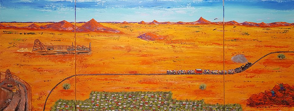 """Picnic Train in the Desert"" by John Wylie - Landscape Ambiguous"