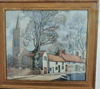 Church and village by Dorothy Watkins