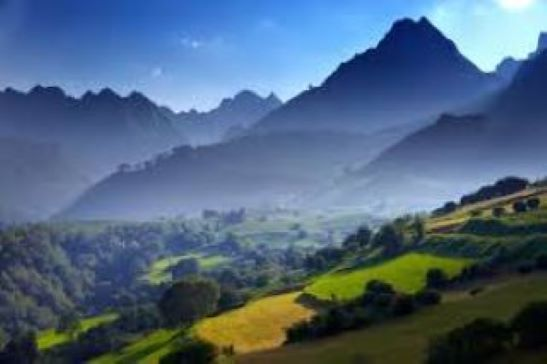 The picturesque scenery of the Basses-Pyrenees of France