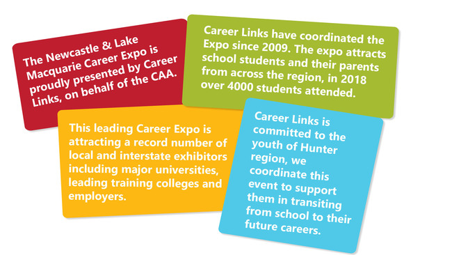 The Newcastle & Lake Macquarie Career Expo is proudly presented by Career Links, on behalf of the CAA.  This leading Career Expo is attracting a record number of local and interstate exhibitors including major universities, leading training colleges and employers.   Career Links have coordinated the Expo since 2009. The expo attracts school students and their parents from across the region, in 2017 over 4000 students attended.  Career Links is committed to the youth of Hunter region, we coordinate this event to support them in transiting from school to their future careers.