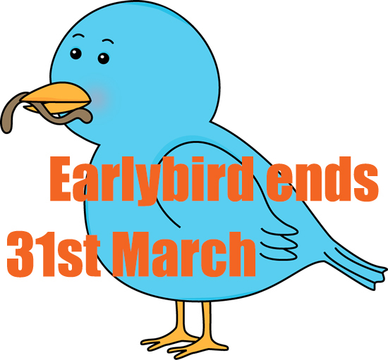 earlybird ends 31st March