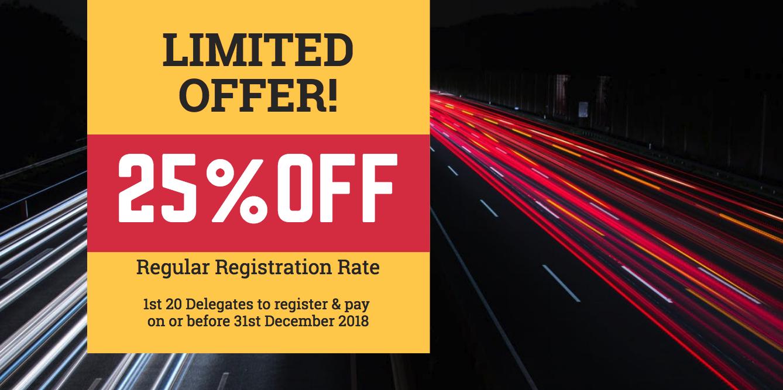 25% off regular rate - register by 31st December 2018