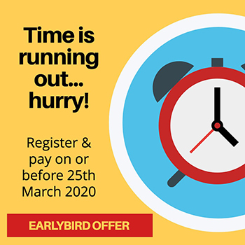 Earlybird ends 25th March 2020