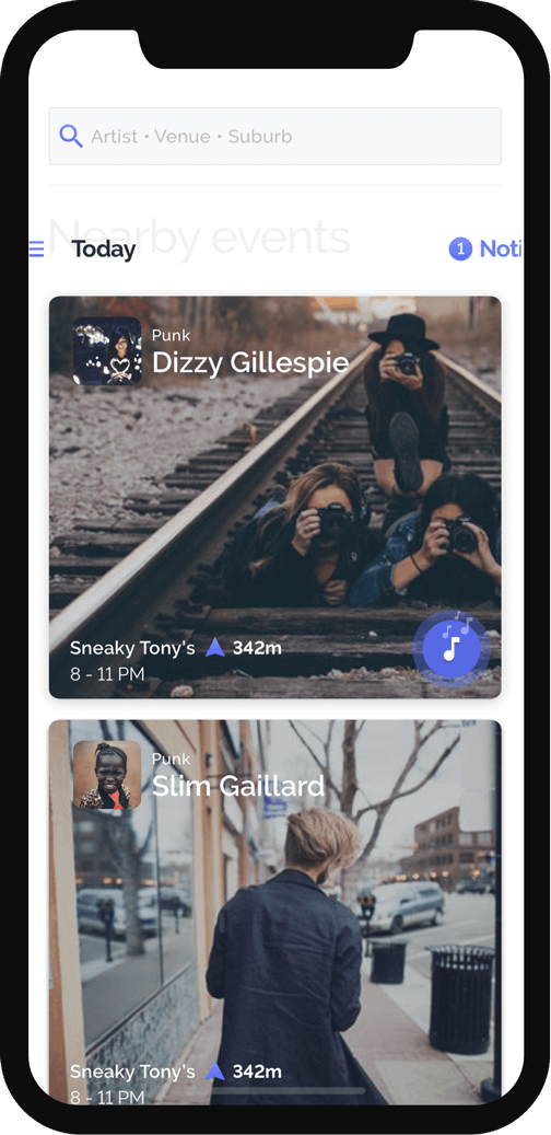 amplify app live music nearby events