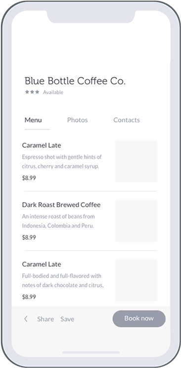 Hey Cafe app wireframing
