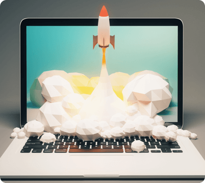 Rocket launching out of PC