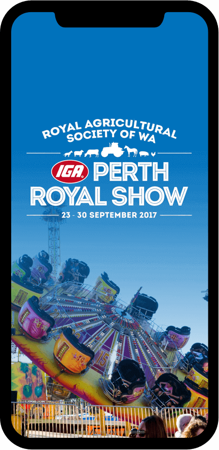 Perth royal show app on phone screen