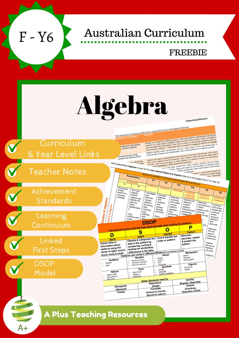 Teaching Algebra Freebie