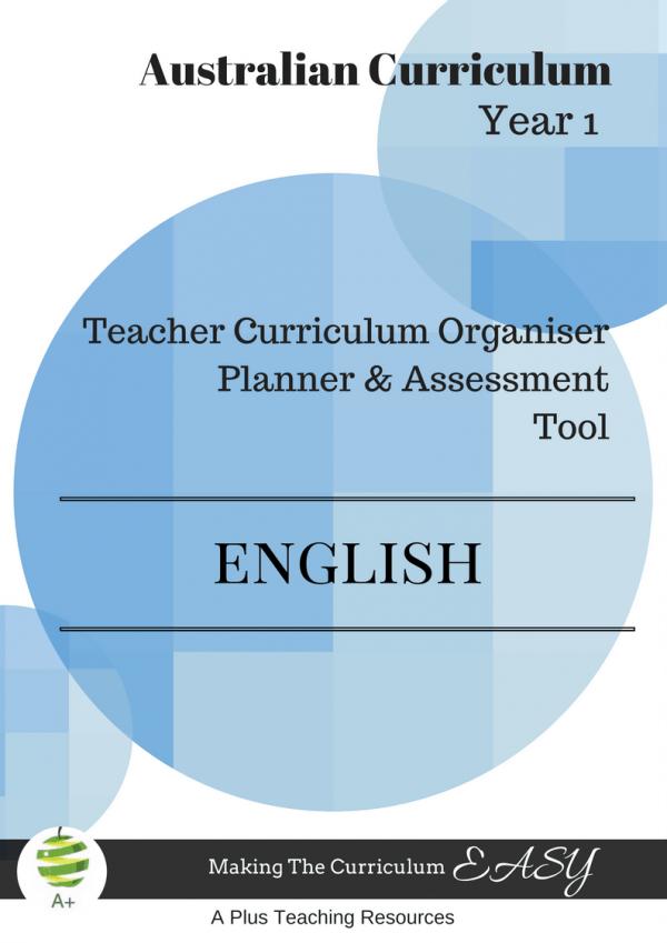 Y1 Teacher Organiser, Planner & Assessment Tool - ENGLISH